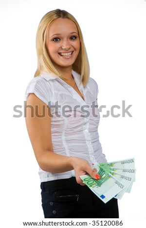 woman with euro money - stock photo