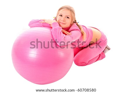 Woman with Exercise ball isolated on white