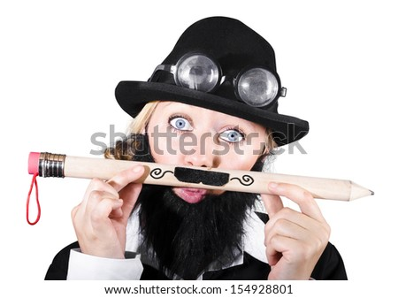 Woman With Eyeglasses Over Bowler Hat Holding Large Pencil With Mustache. Movember Concept