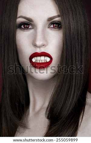Woman with fancy makeup - stock photo