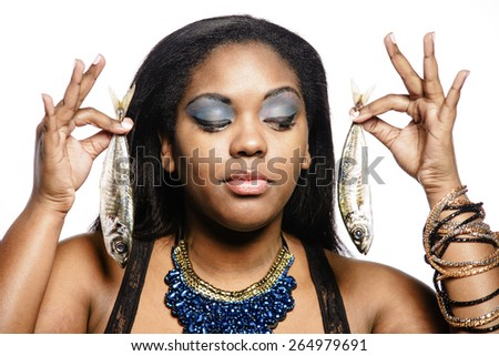 Woman with fish - stock photo