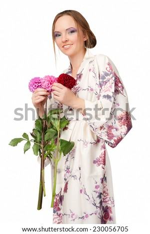 Woman with flowers in Japanese kimono isolated on white background.  - stock photo