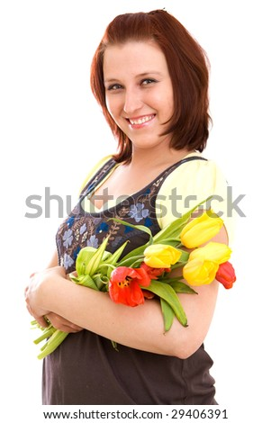 Woman with flowers on white background
