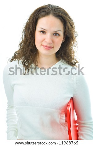 woman with folder for document on white background
