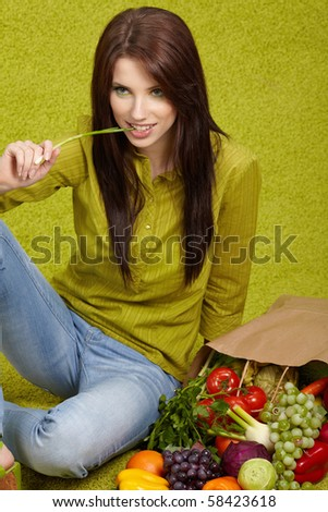 Woman with fruits and vegetables , green concept