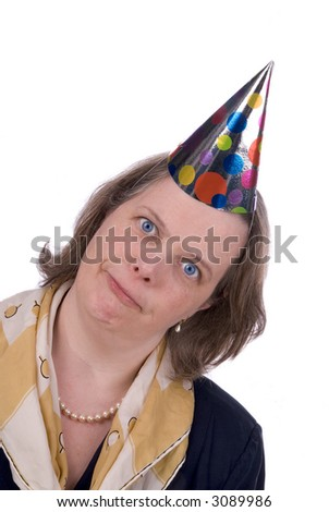 Woman with Funny expression wearing a party hat isolated over white - stock photo