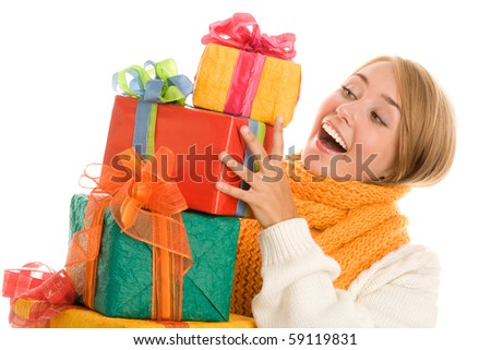 Woman with gifts - stock photo