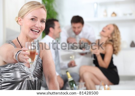 woman with glass - stock photo