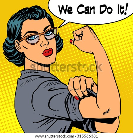 Woman with glasses we can do it the power of feminism. Retro style pop art - stock photo