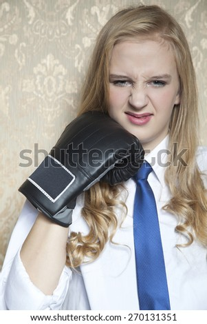 woman with gloves - stock photo