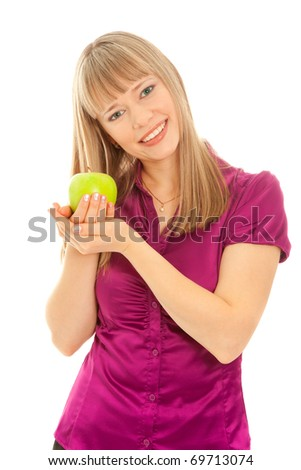 Woman with green apple smiling isolated on white - stock photo