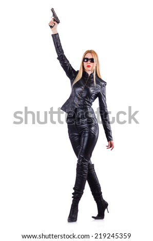 Woman with gun isolated on the white - stock photo
