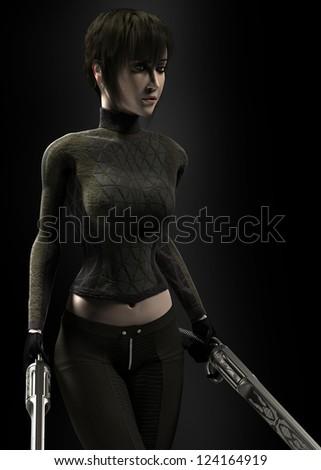 Woman with guns - stock photo