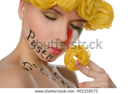 woman with hair pasta and symbols of Italy isolated on white - stock photo