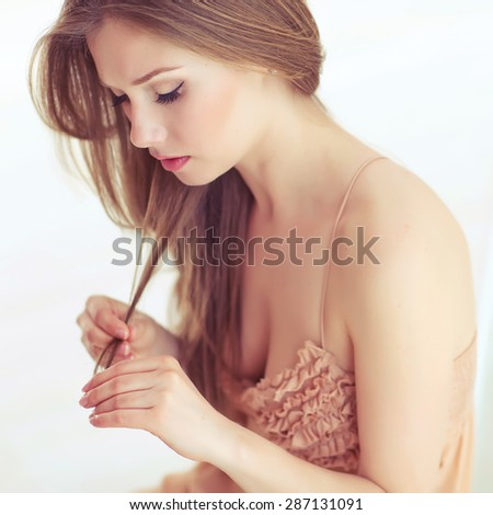 Woman with hair problem - stock photo