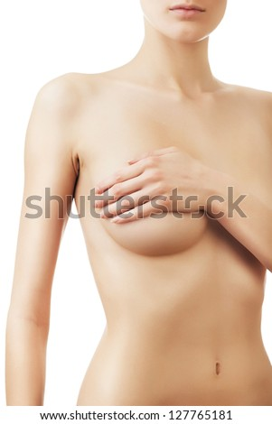 woman with hand on breast on white background - stock photo