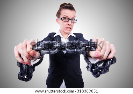Woman with hands and handcuffs - stock photo