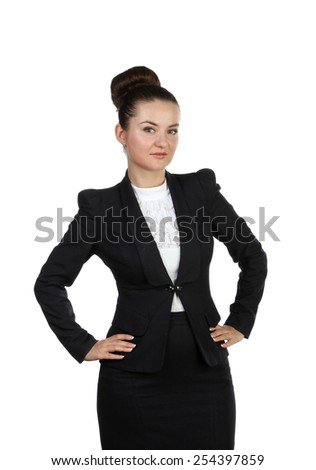 woman with hands on hips isolated on a white background - stock photo