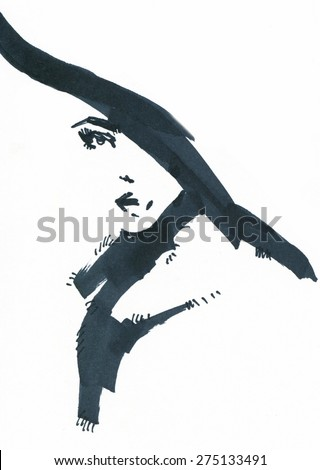 woman with hat. abstract watercolor .fashion background - stock photo