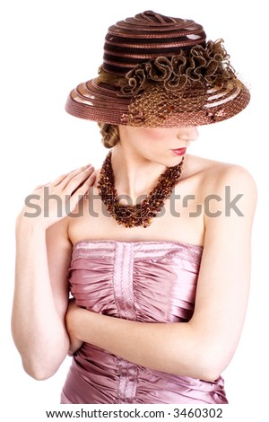 Woman with hat and necklace - stock photo