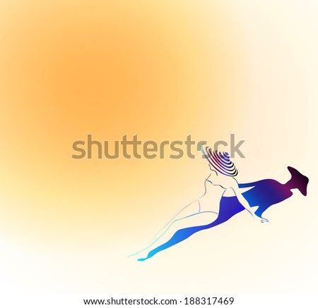 woman with hat sunbathing - stock photo