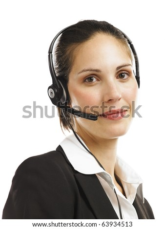 Woman with head set 1 - stock photo