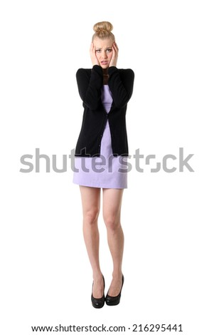 Woman with headache holding forehead in pain. Isolated over white background. - stock photo