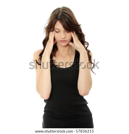 Woman with headache holding her hand to the head, isolated on white - stock photo