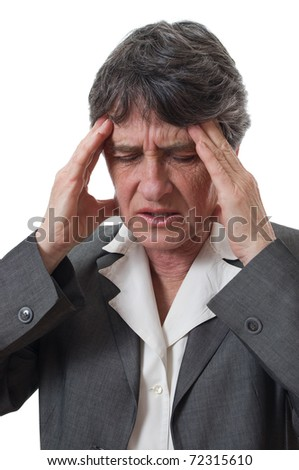 woman with headache holding her head with hands isolated over white - stock photo
