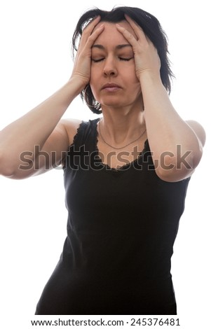 Woman with headache, isolated on white background - stock photo