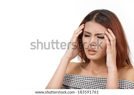 woman with headache, migraine, stress, hangover hand holding head with pain white isolated background