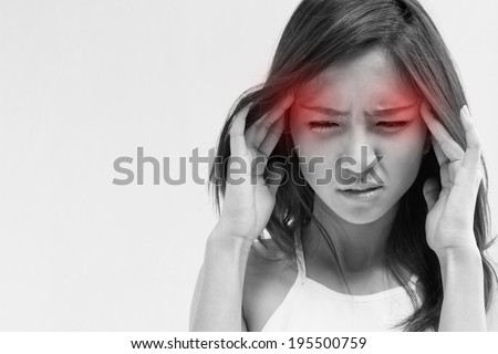 woman with headache, migraine, stress, insomnia, hangover with red alert accent - stock photo
