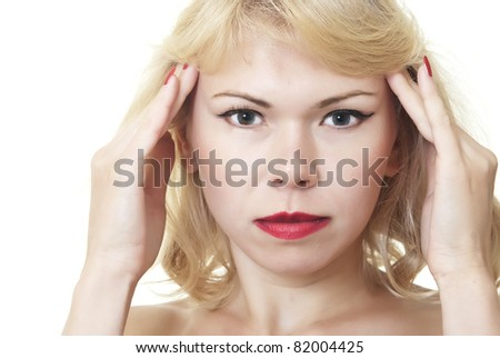 Woman with headache on a white background - stock photo