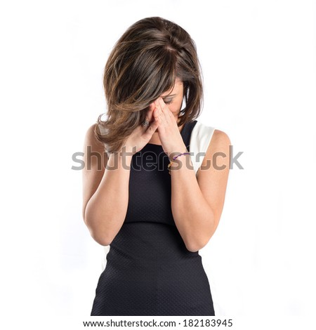 Woman with headache over isolated white background  - stock photo
