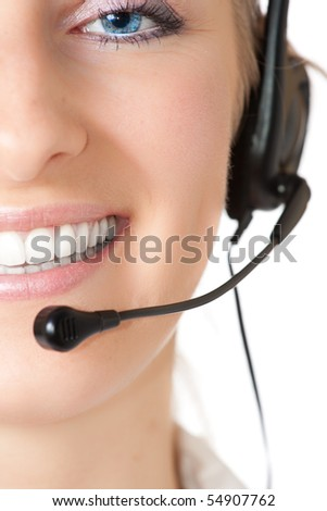 Woman with headphones and microphone - stock photo
