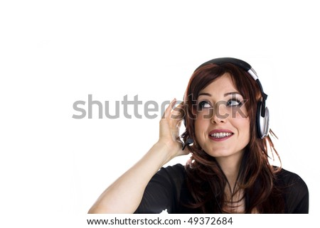 Woman with headphones isolated on white various emotions - stock photo