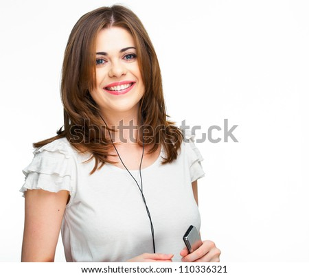 Woman with headphones listening  music . Music teenager girl dancing against isolated white background - stock photo