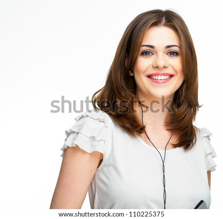 Woman with headphones listening  music on mp3 player. Music teenager girl - stock photo
