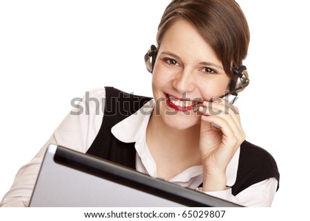Woman with headset laughs happy and makes a call. Isolated on white background. - stock photo