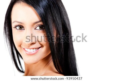 Woman with healthy dark hair looking beautiful - isolated - stock photo