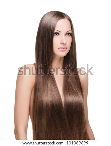 woman with healthy long natural shiny hair , isolated on white background