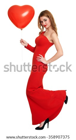 woman with heart shape balloon, long red dress, romantic concept, white background - stock photo