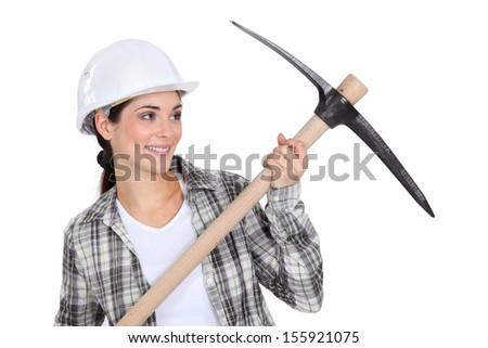 Woman with helmet - stock photo