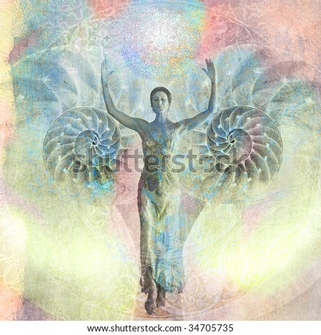 Woman with her arms raised walking from an open nautilus shell. Photo based illustration. - stock photo