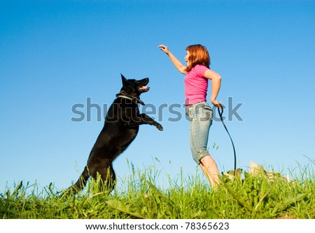 woman with her dog on meadow