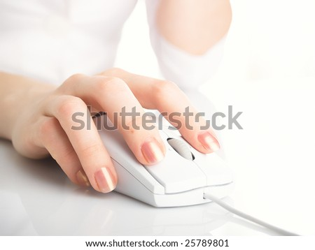 Woman with her hand on computer mouse