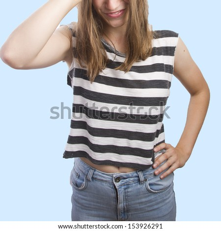 woman with her hand y her head - stock photo
