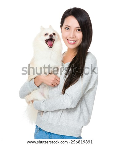 Woman with her happy doggy