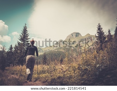 Woman with hiking poles walking in mountain landscape  - stock photo