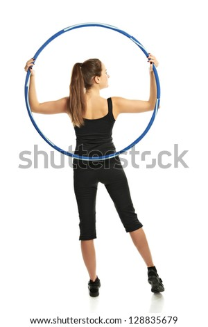 Woman with hoop isolated on white